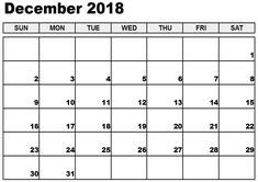 16 Best December 2018 Printable Calendar Images On Pinterest