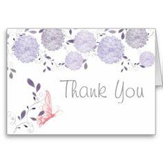 Butterflies and Lavender Chrysanthemum Thank You #butterflies #wedding #Spring #WeddingCollection #WeddingInvitations #Invitations #Floral