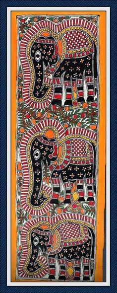 Madhubani & Gond Paintings Indian Artwork, Indian Folk Art, Indian Paintings, Madhubani Art, Madhubani Painting, Mini Paintings, Indigenous Art, Naive Art, Applique Quilts