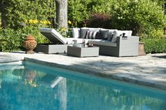 Perfect for small spaces - and comfortable too! The adjustable chaise lounge can extend the sectional space or be pulled to a different area of the yard. Outdoor Sectionals, Outdoor Sofa, Outdoor Decor, Modern Sectional, Sectional Sofa, Family Pool, Backyard, Patio, Lugano