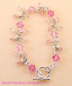 Crystal bead bracelets, great bead bracelet ideas, learn how to make a Swarovski crystal beaded bracelet.