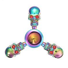 ECUBEE EDC Skull Head Fidget Spinner Rainbow Hand Spinner Gadget Finger Spinner