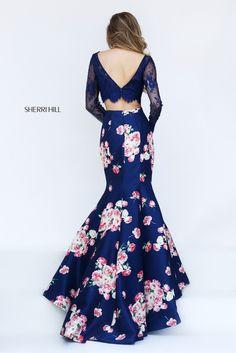 Sherri Hill 50488 long sleeve lace crop top mermaid gown with a fun satin print skirt.