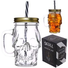 Glass Skull Drinking Jar with Metal Lid and Drinking Straw