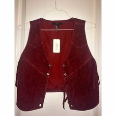 Forever 21 Fringe Vest Casual burgundy vest to add to any outfit! NEVER WORN! Perfect condition Forever 21 Jackets & Coats Vests