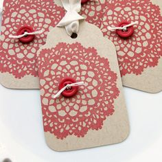 Doily Gift Tags  Set of 4 by FreshLemonBlossoms on Etsy