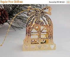 Christmas Tree Ornament Brass Bell Ornament 3D Window Pane