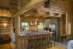New Horizon - Custom handcrafted log homes by Maple Island Log Homes Timber Frame Homes, Timber House, Log Home Kitchens, Log Homes, Natural Wood, Building A House, Custom Design, Pergola, Outdoor Structures