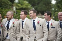 tan groomsmen suits with navy tie. Great look for destination wedding groomsmen. Miami Wedding, Wedding Men, Wedding Attire, Trendy Wedding, Dream Wedding, Wedding Ideas, Blue Wedding, Wedding Stuff, Wedding Groom