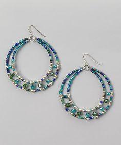 Blue & Silver Beaded Hoop Earrings | zulily