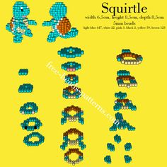 Pokemon Squirtle 3D Pyssla Hama Beads perler beads pattern download