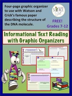 FREE!!   DNA Informational Text (Watson and Crick Paper) with Graphic Organizers.