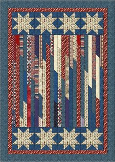 Scrap Strips and Stars --Jelly Rolls Strip Quilts, Panel Quilts, Blue Quilts, Jellyroll Quilts, Scrappy Quilts, Amish Quilts, Quilt Block Patterns, Quilt Blocks, American Flag Quilt