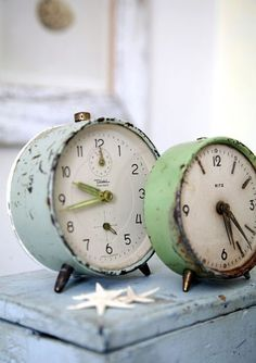 I fancy the colors on these clocks.  Have been considering beginning yet another collection and these would inspire a new one with their pretty palette.