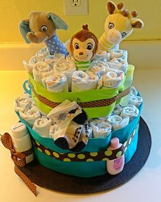 Cute baby gift idea - Jungle diaper cake