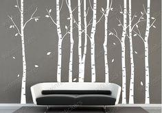 Vinilo WalDecal naturaleza diseño árbol pared pegatinas pegatinas vivero pared arte de la pared calcomanía---9 abedules