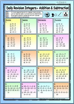 * Maths Daily Revision Worksheets - Integers - Add, Subtraction, Multiplication and Division *You will receive 8 pages of bright colourful INTEGER Revision. Free Math Worksheets, Kindergarten Math Worksheets, Teaching Resources, Teaching Methods, Teaching Tools, Teaching Math, Adding Integers, Integers Worksheet, Secondary Math