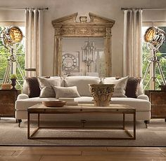 mirrored living room, very chic