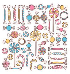 Doodle candies sweets hand drawn objects set vector - by Anna_leni on VectorStock® Candy Drawing, Food Drawing, Candy Theme, Candy Art, Bullet Journal Themes, Bullet Journal Inspiration, Girly Drawings, Easy Drawings, Doodle Designs