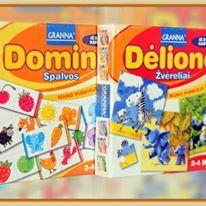 """- Domino spalvos Žaidimo aprašymas: Dėžutėje rasite 27 domino kauliukus su spalvotais paveikslėliais. Žaisdami su mažu vaiku žaidimą """"Domino spalvos"""", padėsite jam pažinti ir įvardinti spalvas.  Žaidimo taisyklės: Iš domino kauliukų vaikas gali dėlioti spalvotą gyvatę arba traukinuką, dėliojant žaidimo kauliukus taip, kad jie jungtųsi tos pačios spalvos piešiniais (kauliuko kraštinėmis). Arba galima žaisti įprastą domino žaidimą, tik kauliukus jungiant pagal piešinio spalvas…"""