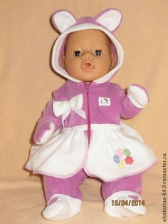 """Комбинезон """"Мишутка-кокетка"""" - сиреневый,одежда для кукол,одежда для беби бона"""