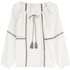 Velvet Patchwork Peasant Blouse ($185) ❤ liked on Polyvore featuring tops, blouses, white, fitted blouse, loose blouse, white long sleeve blouse, white tie blouse and fitted white blouse
