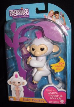Fingerlings WowWee 100% Authentic Sophie White with Pink Hair Baby Monkey #WowWee