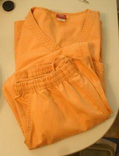 Sherly 2 piece Scrub Set Ladies Orange Tangerine Peach Top Pants Sz S Small…