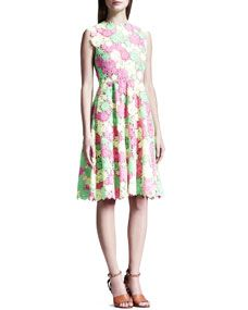 Valentino Full-Skirt Floral Guipure Lace Dress, Pink/Yellow/Green