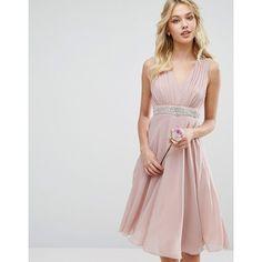 TFNC WEDDING Embellished Midi Dress with Plunge Neck featuring polyvore women's fashion clothing dresses wedding dresses pink