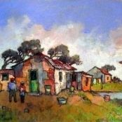 Sold | Theys, Conrad | Shacks Brighton College, South Africa Art, Africa Painting, National Art Museum, Native American Quotes, South African Artists, Art Society, Urban Sketching, Ares