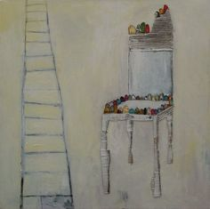 """Tranquilizer"" 100x100cm Mixed media on canvas painted by mariko murase #painting #art #chair #white #ladder #kids art #shabby #アート #椅子 #はしご #白 #コラージュ"