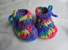 Baby Booties Crayon Colors  3-6 months  by Pepperbelle on Etsy, $12.00