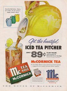 Retro Kitchen Decor Hall Pottery Yellow Iced Tea Pitcher Ad