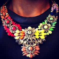 Vintage Box Chain Retro Colorful Diamante Crystal Flower Fringe Pendant Statement Necklace https://www.amazon.com/dp/B01IUPTWV4