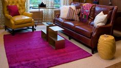 For the top layer, feel free to go much smaller and in a different shape. Even consider some color for a playful pop of personality.    Read more: http://www.homerehabonline.com/home-decorating-ideas/how-to-layer-rugs/index.html#ixzz2I9Q1rWSk