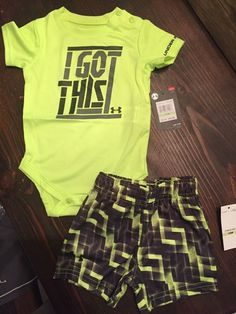 cd234e1fd Boys Under Armour 3/6 months I Got This Two Piece Set - Neon Green & Black  NWT
