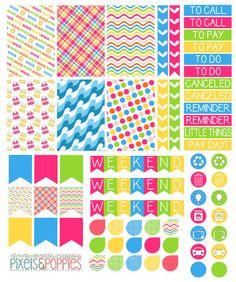 73 Beach Theme Stickers Planner Stickers by PixelsAndPoppiesShop