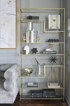 Gold Home Accents Bedroom Colors is part of Buy Gold Home Accents From Bed Bath Beyond - Gold accent bookshelf Redo Home + Design Narrow Bookshelf, Gold Bookshelf, Bedroom Bookshelf, Modern Bookshelf, Modern Shelving, Gold Furniture, Furniture Hardware, Bedroom Furniture, Luxury Furniture