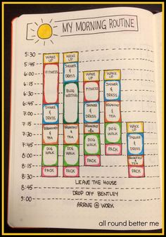My Morning Routine in my New Bullet Journal #fitness_planner_time_management