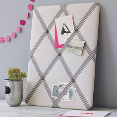 A beautiful range of memo boards and pin boards with stylish ribbon options. £35.00