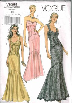 Floor Length Gown Sewing Pattern/Vogue 8288 Misses Size Fitting Flared Bottom Boning Front Bra Options/wedding,grad/ Uncut by RedWickerBasket on Etsy Mermaid Dress Pattern, Gown Pattern, Vogue Sewing Patterns, Clothing Patterns, Apron Patterns, Dress Making Patterns, Floor Length Gown, Couture, Evening Dresses