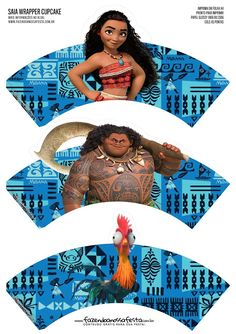 Moana Party Free Printable Wrappers and Toppers for Cupcakes. Moana Birthday Party Theme, Moana Party, Birthday Ideas, 5th Birthday, Chris Williams, Disney Printables, Free Printables, Cupcakes Moana, Disney Animation Studios