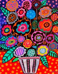 folk art painting by heather galler-artist ..bright and beautiful bouquet ...