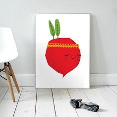 Waleczna Rzodkiewka. Plakat dla dzieci. pokój dziecka | rzodkiewka | ilustracja | nursery poster | scandinavian style | radish | vegetables | veggies | indian | baby | illustration | baby room