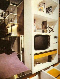 Joe Colombo, Milan Bookshelves and tv - 'furnishing unit'