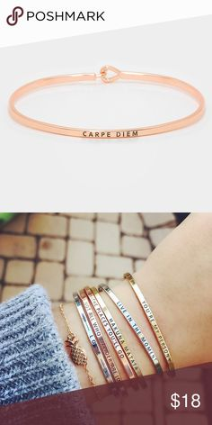 """""""Carpe diem"""" Bracelet-ROSE GOLD Brand new! Super cute!   15% off for bundle purchases of 2 or more items! Purchasing 7 or more items? Please make an offer for 20% off of your bundle with the bundle offer feature and I will accept.  FEEL LIKE MAKING AN OFFER? Please do it through the make an offer feature as I will no longer negotiate prices in the comments section.   PRICE IS FINAL ON ITEMS $15 or less unless bundled. Hannah Beury Jewelry Bracelets"""
