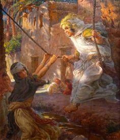 Etienne Dinet (1861-1929), Jeune fille nouant le turban de son amie      Fillettes allant à la fête      Costume de fête      Jeune coiff...