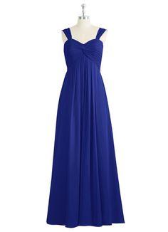 AZAZIE JANESSA. The attractive floor-length bridesmaid dress by Azazie has an empire cut in a gorgeous chiffon.