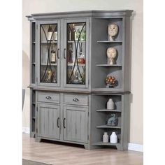 The farmhouse chic of this classic hutch and buffet set features traditional turned legs and distressed finish. These exceptional pieces incorporate impressive function to match their impeccable style